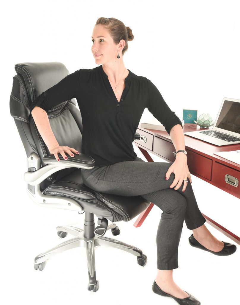 5 Seated Yoga Stretches for your Desk Job - Spinal Twist