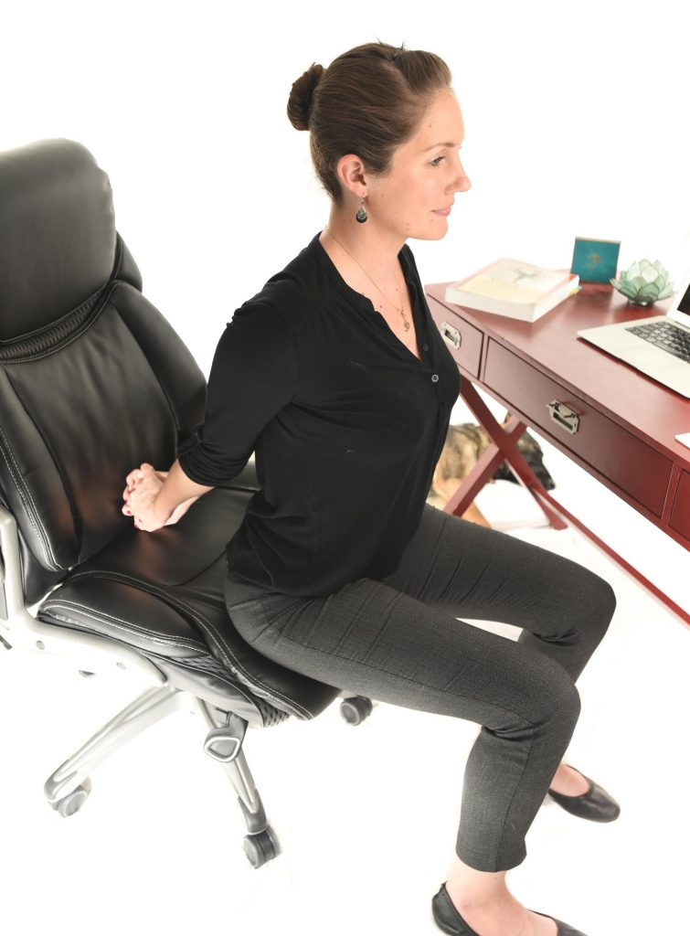 5 Seated Yoga Stretches for your Desk Job - Chest Stretch