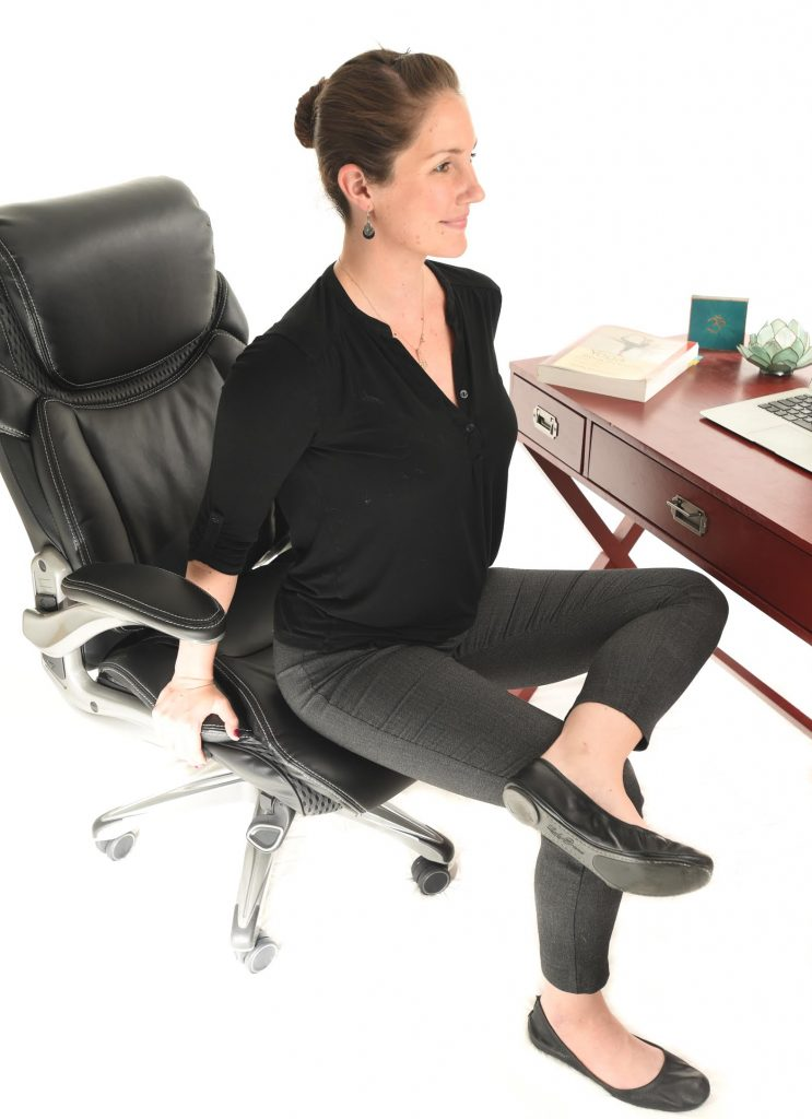 5 Seated Yoga Stretches for your Desk Job - Hip Stretch